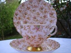Vintage Tuscan China Tea Cup, Saucer, Side Plate Trio Pink & Gold Coloured Gilt | eBay