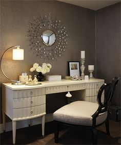 My dream Barbara Barry desk and Constellation Mirror combined!