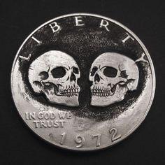 Hobo-Nickel-Twins-Skulls-1972-Eisenhower-One-Dollar-Coin