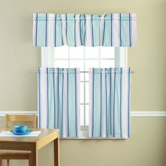 Mainstays To the Lighthouse Blue Stripes Kitchen Curtains