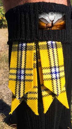 Kilt flashes (yellow and blue) Kilt socks (cream or black) Kilt Socks, Tartan, Yellow, Blue, Fashion Accessories, Cream, Style, Accessories, Creme Caramel