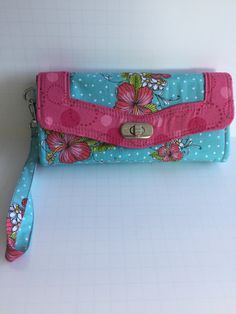 Handmade teal and pink wallet, Necessary Clutch Wallet, NCW, Ladies Clutch, Wristlet Wallet by JazzyJoDesigns on Etsy