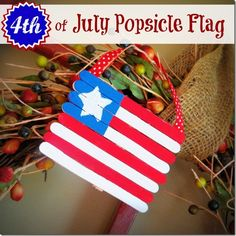 Super cute 4th of July #crafts for kids! http://crunchyfrugalista.com/crafting-with-kids-4th-of-july-popsicle-flag/