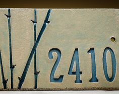 """HOUSE NUMBER SIGN """"bamboo"""", Handmade ceramic customized address sign perfect for Housewarming, Wedding, Anniversary (outdoor friendly) House Number Plates, Ceramic House Numbers, Clay Tiles, Ceramic Clay, Ceramic Pottery, Door Plaques, Name Plaques, House Plaques, Custom Outdoor Signs"""