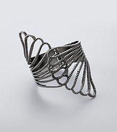 GUESS Hematite Hinged Cuff Bracelet