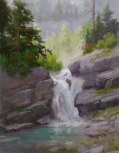 """Misty Mountain Waterfall"" by Johannes Vloothuis PA#24"