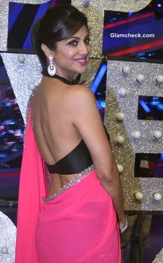 Backless Blouse Shilpa Shetty in Manish Malhotra Pink Sari