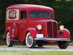 *COCA-COLA ~ 1937, Ford Half-Ton Panel Truck. red, logo, curves, oldsmobile, vehicle, transportation, wheels, photo.