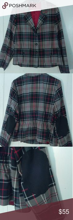 Plaid jacket by Joan Rivers This plaid jacket has two front pockets with buttons, red satin lining and black elbow patches. WOW! How gorgeous would this look with a pair of white denim capris and red or black heels? Va-va-voom!!! Joan Rivers Jackets & Coats Blazers