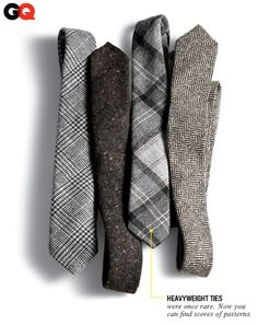 7. Winterize Your Ties We're not gonna try to tell you wool ties are going to save you from frostbite or the shivers. They just look real good with heavyweight fabrics like your flannels and tweeds. A shiny silk tie doesn't jibe with corduroy. Ties, from left: Black Fleece by Brooks Brothers, $125 Gitman Vintage, $80 Alexander Olch, $140 Riviera Club, $125 Read More http://www.gq.com/style/wear-it-now/201111/harry-shum-suits-coats-style-winter-gq-november-2011#ixzz1e16lmXd5