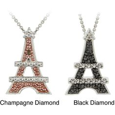 DB Designs Sterling Silver Diamond Accent Eiffel Tower Necklace (215 SEK) ❤ liked on Polyvore featuring jewelry, necklaces, white, sterling silver chain necklace, sterling silver round pendant, round pendant, sterling silver pendants and round pendant necklace