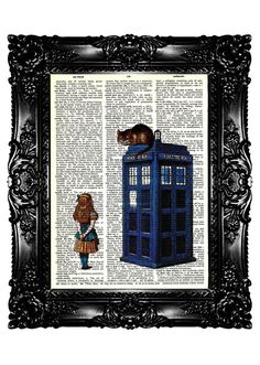 Want! Alice in Wonderland & Tardis Upcycled Book Recycled Art Print Upcycled Dictionary Page Vintage Book Print