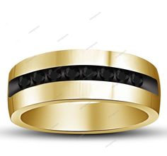 14K Yellow Gold Plated Round Cut  AAA Diamond Men's Wedding Band Ring 0.28 CT   #aonejewels #MensBand