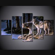 5 Panels Canvas art framed artwork two wolves canvas Prints Animal picture wall decor Painting for Kitchen poster Free shipping #Affiliate