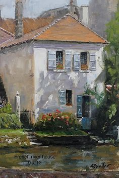 French river home by Les Boeder, Oil 12 x 9