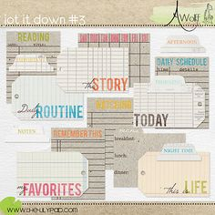 Jot It Down Journal cards, tags and labels from Amy Wolff.