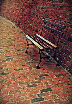 bench and bricks