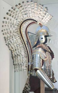 Side view of Polish Hussar armour showing wing detail. The Polish Winged Hussars were the elite of the Polish-Lithuanian Commonwealth cavalry.