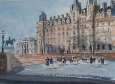 A watercolour of people moving across the bottom of St Georges Plateau with Lime Street Station facade in the background. A scene giving a feel of the civic grandeur that belongs to this great city.