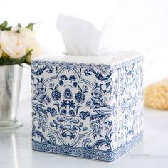 Birch Lane Porcelain Tissue Box, Blue & White