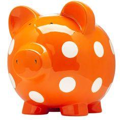 Huge Pig Bank - Orange Pig Bank, Orange You Glad, Orange Crush, Happy Colors, Hand Painted Ceramics, Ceramic Painting, My Favorite Color, Orange Color, Are You Happy
