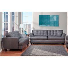 Arlington Grey Top Grain Leather Sofa and Loveseat