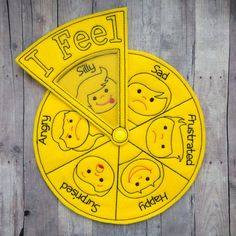Emotions Wheel, Helps Teach Children About Feelings, For Preschool, Home School, Embroidered Acrylic Feelings Preschool, Emotions Activities, Preschool Learning Activities, Toddler Activities, Preschool Activities, Kids Learning, Felt Crafts, Paper Crafts, Emotions Wheel