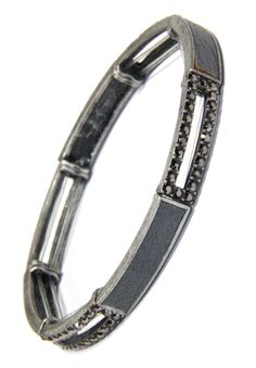 Black Diamond Crystal and Leather Inset Long Link Stretchy Bracelet Arm Candy Bracelets, Metal Finishes, Grey Leather, Black Diamond, Product Description, Crystals, Link, Style, Swag