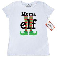 Inktastic Mema Grandma Elf Christmas Women's T-Shirt Feet Holiday Gift Cute Funny Grandmother Grandparents Family Clothing Apparel Tees Adult Hws, Size: XXL, White