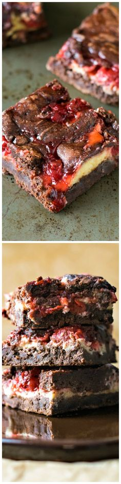 The ultimate brownie recipe baked with swirls of cheesecake and cherry pie filling! (Cherry Cheesecake Recipes)
