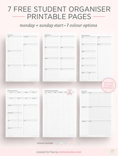 emmastudies: Free Student Planner PrintablesHere is a selection of 7 printables to use and (hopefully) improve your student life! These are seven different designs to pick from in seven different colours: blank blue green purple pink peach and. Exam Planner, Assignment Planner, Hourly Planner, College Planner, School Planner, Study Planner, Life Planner, College Tips, Revision Planner