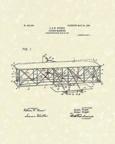 Wright Brothers Flying Machine 1906 Patent Art #patentart