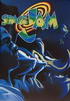 This movie of Space Jam has the logo of it with the characters Michael Jordan, Bugs Bunny, Lola Bunny, Daffy, Tasmanian devil and Tweety. The way the characters are they look like there going into battle determined to win