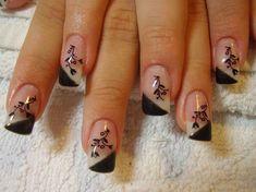 Nail Design: diagonal black French tips