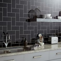 Central Black Ceramic Wall Buy Now At Horncastle Tiles For Lowest UK Prices! Grey Wall Tiles, Black Subway Tiles, Black Tiles, Ceramic Wall Tiles, Kitchen Splashback Tiles, Subway Tile Kitchen, Backsplash, Kitchen Laminate, Laminate Cabinets