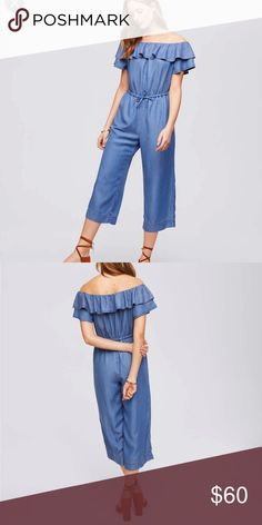 7f13683a3e8c LOFT Chambray Off The Shoulder Jumpsuit LOFT Chambray Off The Shoulder  Jumpsuit Size Small Off the shoulder ruffles Great condition - Only Worn  Once!