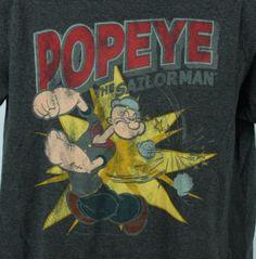 Popeye-The-Sailorman-Mens-L-TShirt-Gray-Muscle-MMA-Grey-Funny-Cartoon-Large