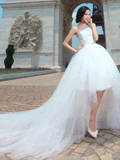 Paris high-low summer wedding dress