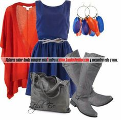 Amazing royal blue casual dress, elegant grey boots, bag & belt, orange & blue accesories, orange light sweater for a pop of color...