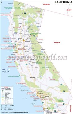Map of Major Cities of California MAPS Pinterest City City