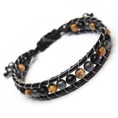 Bracelet Homme/Femme Style Shamballa Cuir VÉRITABLE Perles Ø 6mm pierre naturelle Agate/onyx mat Picasso Jasper, Hématite