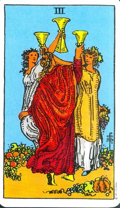 When you see the #3ofcups in your #dailytarot, you can rest assured that all things in your emotional life are in a good place, or well on their way of being there. This is a card that shows your excitement with your friendship or relationships, and assures that you are being welcomed with open arms. New life lessons regarding love and relating are giving you incredible insight about your future, or will very soon.