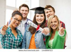education - happy girl in graduation cap with certificate and students by Syda Productions, via Shutterstock