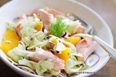 Fenchel-Orangen-Salat mit geräuchertem Saibling