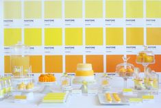 Incredible Pantone dessert table. Wow! So creative.