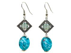 Use coupon 10OFFTLBCJ for 10%OFF on $10.00 or more Use coupon 20OFFTLBCJ for 20%OFF on $20.00 or more  ----- Free Shipping Jewelry SALE Handmade Beaded Earrings Faceted Millefiori Blue Turquoise Green Crystal Dangle Earrings (Item number LBE018) by TheLoveBabyCompany on Etsy
