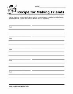 Printable Worksheets for Kids to Help Build Their Social Skills: Recipe for Making Friends