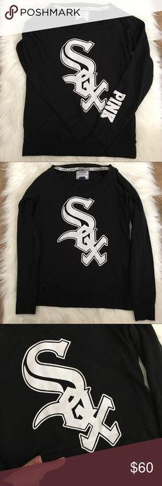 VS Pink Chicago White Sox crewneck Small VS Pink Chicago White Sox crewneck sweatshirt.  Size small.  Good used condition!! Shows light wear from the wash.  Has a front kangaroo pocket! Screen print logos are in good shape! PINK Victoria's Secret Tops Sweatshirts & Hoodies