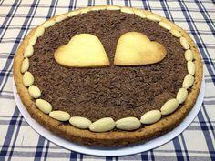 Crostata con crema diplomatica e scaglie di cioccolato fondente