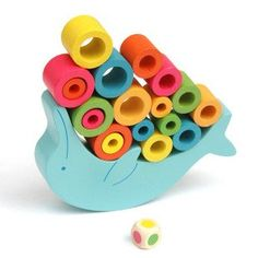 Candice guo! 10% Colorful educational wooden toy funny toy dolphin shape balance game porpoise balanced 1set